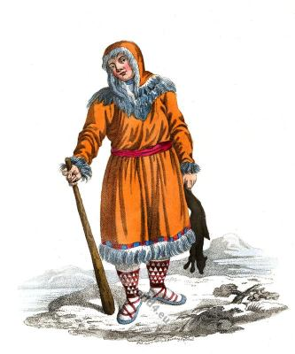 A Koriak in traditional Kamtchatka dress. Traditional Russian national costume.