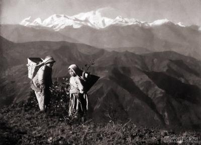 Kanchanjungha range. J. Burlington Smith. Burch Hill Park Darjeeling India ethnic costume. Tea fields.