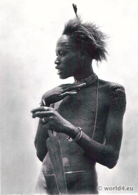 African warrior of the Nuer tribe. Africa soldier tribals, costume
