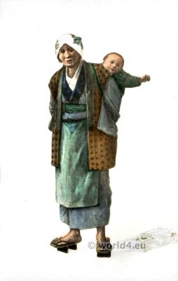 Old Woman from Japan carrying baby. Traditional Japanese costumes