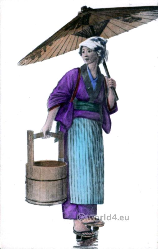 Japanese woman dress. Cloggs Carrying Water, Parasol. Traditional Japan costume.
