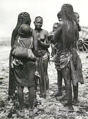 Hairstyle African tribe Bantu Namibia costume.