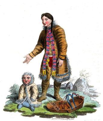 Traditional Samoyed national costume. Nenets indigenous people folk dress.