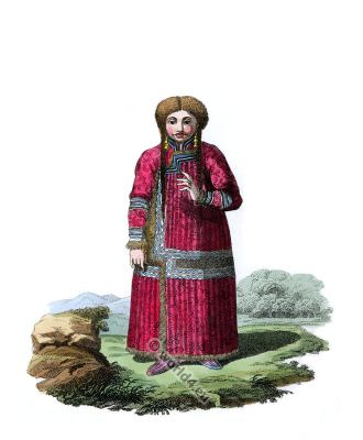 Traditional Nogayan or Katschintz Tartar folk dress.