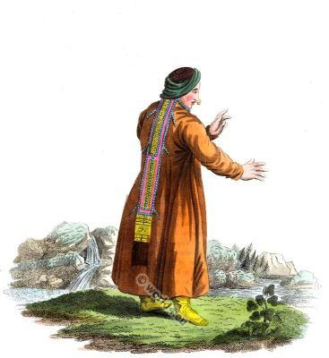 Nomadic Nogai tribes dress. Traditional russian national costume. Tatar costume