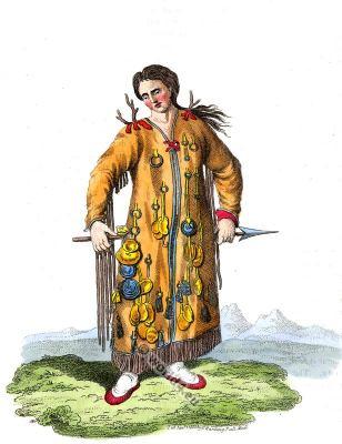 Traditional Shaman costume. Evenki, Evenks. Tungusian Russian national  dress.