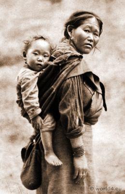 Bhutia Beggar. Woman and Child.