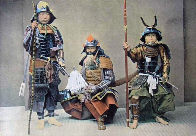 Group of Samourais. Japan military costumes. Samurai weapons. Full armor Samurais.