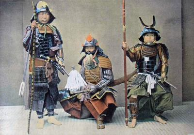 Samurais. Armour. Japan military costumes. Samurai weapons. Full armor.