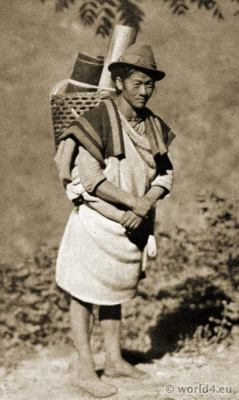 Traditional Lepcha Man costume. Tibetan folk dress.