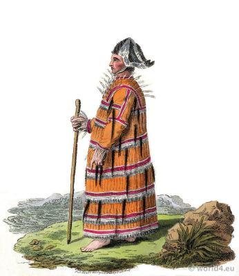 Traditional russia Aleutian folk costume. Edward Harding. Costume of the Russian empire