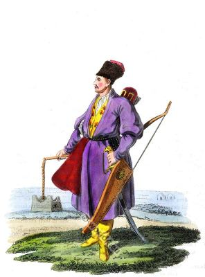 Armed Turcoman costume. Ottoman empire warrior. Asian knight.