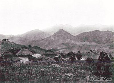 Tansania. Uluguru Mountains, Tanganyika. African tribe village. Africa landscape