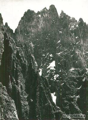 African landscape. Mountains. Volcanic formation (Mawenzi), Kilimanjaro.