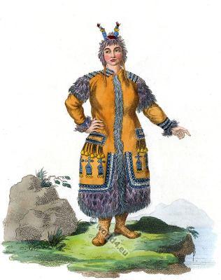 A Female Yakut garb. Sakha traditional folk dress. Traditional Russian national costume