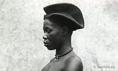 African tribe Yetsang. girl Hairstyle. Cameroon.