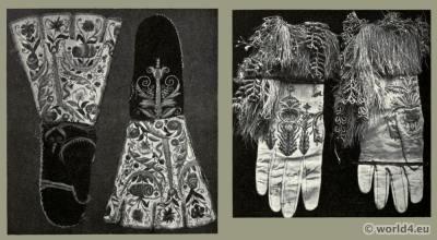 Gauntlets, gloves. Renaissance clothing. Tudor fashion. Embroidery 16th century.