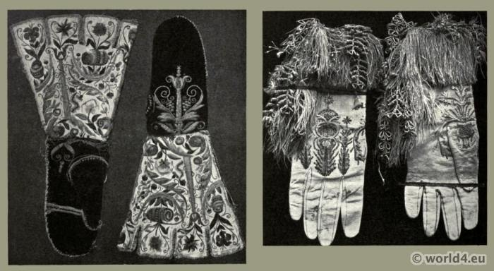 England 16th century white satin gauntlets. Gloves Embroidery