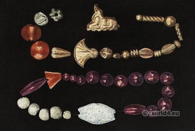 Beads of gold. Temple Tomb. Palace of Knossos. Ancient Minoan jewelry. Antique greek culture.
