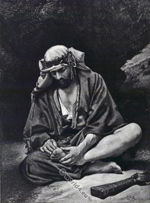 Traditional Arab Bedouin Burnus costume. بَدْو