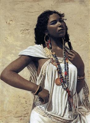 Arabian woman. Traditional Arabian costume. Arab woman clothing and jewelry.