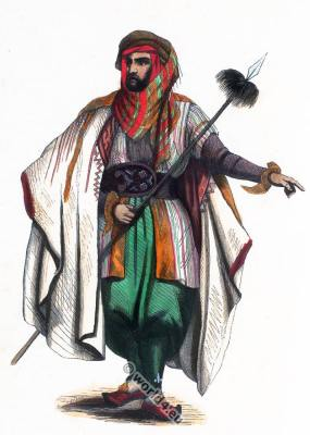 Costume Inhabitant of Mount Lebanon. Traditional arab clothing.