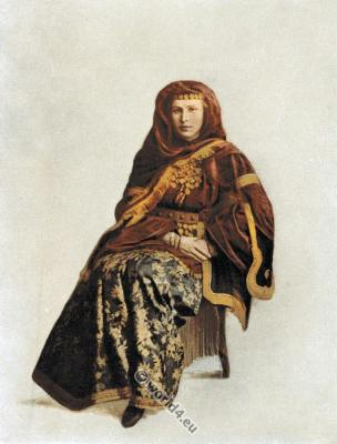 Caucasus. Caucasia. Armenia woman. Traditional Armenian costume. Caucasian folk dress.