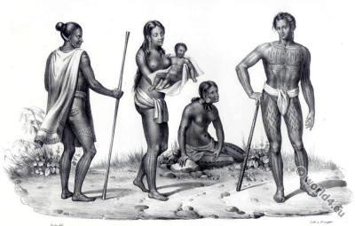 Caroline Islands costumes. Oceania clothing. Asia tribals tattoo