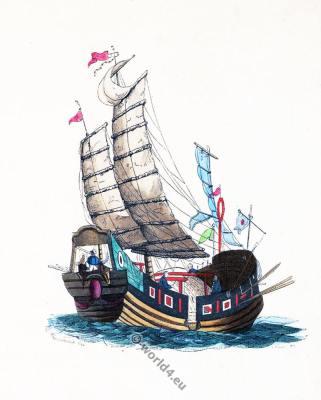 Chinese junk ship. Traditional China boat. Asian marine.