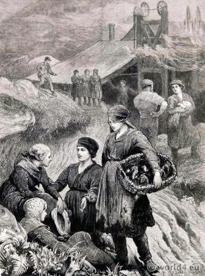Tip Girls. The Colliers' Strike in South Wales. England Victorian fashion period worker clothes.