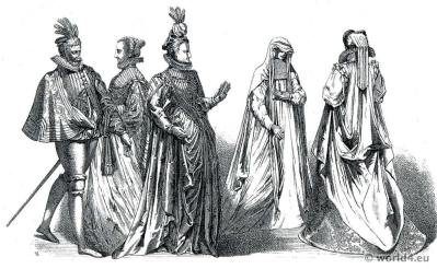 French costumes 16th century. nobility fashion period of Henry III. France renaissance dresses
