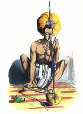 Hindu costume. tambura. Traditional India clothing. Asian dress