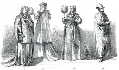 Italian fashion of the 16th century. Period of Henry III. Renaissance costumes.