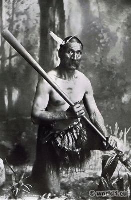 New Zealand warrior tribe. indigenous people costume. Taiaha weapons