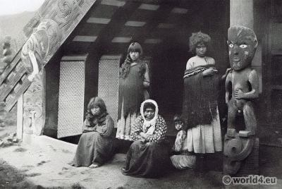 Maori meeting house. Traditional Maori costume. New Zealand folk dress