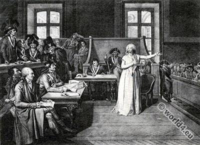 Marie Antoinette at Revolutionary Tribunal. French revolution costumes.