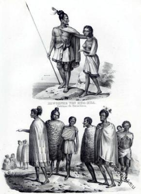 Hua Hua. Traditional Maori costumes. New Zealand clothing. Oceanian people