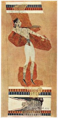 Bull-Ring. Leaping girl Bull-Catching scene. Palace of Knossos. Minoan culture. Ancient greek fresco.
