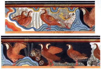 The Partridge Fresco. Pavillion of Caravanserai. Palace of Knossos interior. Ancient Minoan culture.
