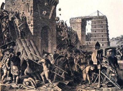 Roman Legionaries conquer a city. Heavy artillery. Ancient Military catapult. Weapons.