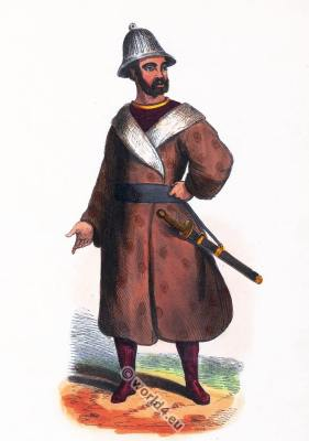 Russian Unangan soldier. Aleutian Islands costume. Ancient Asian clothing