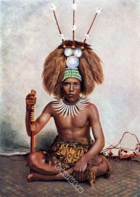 Samoan chief ceremonial dress. Traditional Oceania native costume.