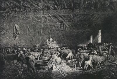 Traditional shepherd dress. The sheep stable. Charles Jacque. Barbizon School.
