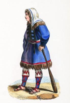 Kureck Sakian Kurgans. Kazakhstan costume. Traditional Russia clothing. Ancient Asia dress