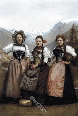 Switzerland traditional costumes. Swiss folk dresses. Dirndl clothing