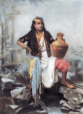 Syrian girl. Syria traditional dress. Traditional Arabian clothing. Arab girl costume
