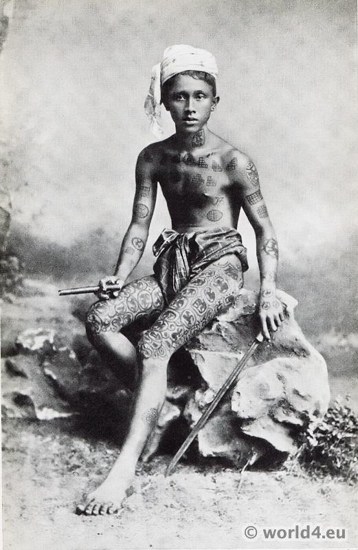 Tattoo Art On Boy From Myanmar Costume History