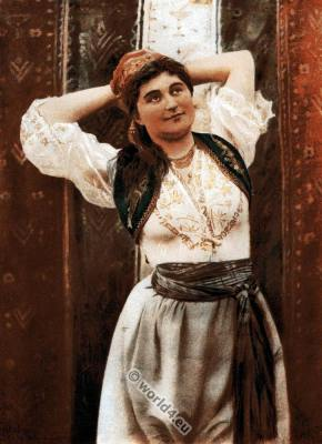 Traditional Turkish woman. indoor costume. Constantinople. Ottoman empire dress