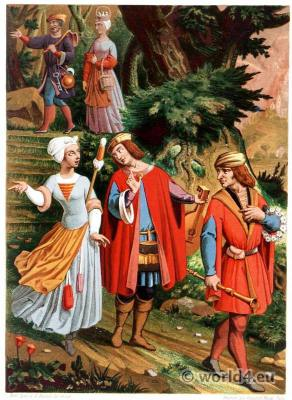 15th century costumes. Gothic clothing. medieval france farmers.