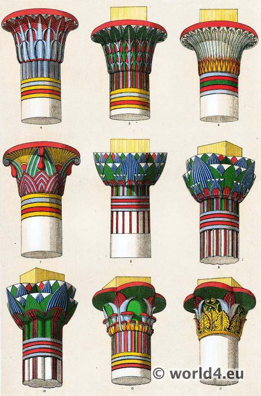 Ancient Egypt ornaments. Grammar of Ornament by Owen Jones. Capitals of the great pillars of the Temple of Luxor.